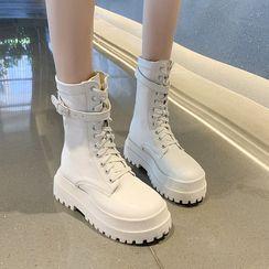 Vindler(ヴィンドラー) - Lace-Up Platform Short Boots