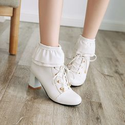 Kireina - Faux Leather Lace-Up Chunky-Heel Ankle Boots