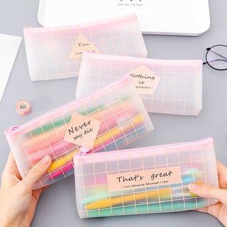 Dukson - Lettering Plaid Transparent Pencil Case