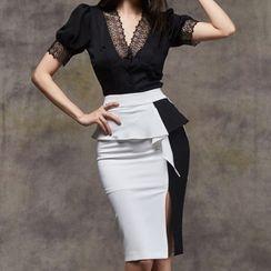 Kevina - 套装: 短袖蕾丝边衬衫 + 双色荷叶铅笔裙