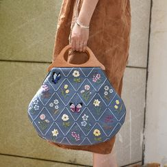 Embroidery Kingdom - 花朵及蝴蝶刺繡手提包DIY材料包