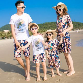 Hinode - Family Matching Printed Short-Sleeve T-Shirt / Shorts / Sundress / Set