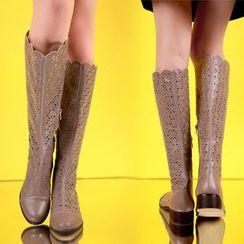 佳美 - 低跟镂空长靴