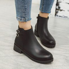 Shoes Galore - Faux Leather Buckled Short Boots