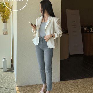 UPTOWNHOLIC - Single-Breasted Linen Blend Blazer