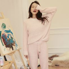 Furana - 家居服套装: 纯色毛衣 + 裤子