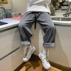 Naideth - Plain Corduroy Straight Leg Pants