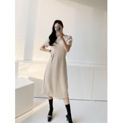 PPGIRL - Puff-Sleeve Woolen A-Line Dress