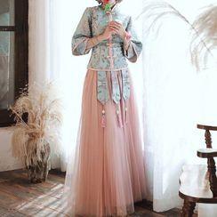 Destine - 3/4-Sleeve Embroidered A-Line Maxi Qipao Dress