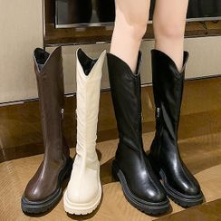 Yuki Yoru - Platform Faux Leather Tall Boots