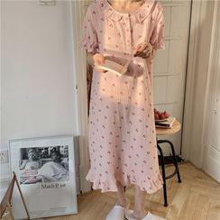 Noviril - Puff-Sleeve Cherry Print Midi Sleep Dress