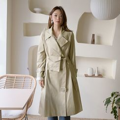 NAIN - Wide-Lapel Long Trench Coat with Belt Bag
