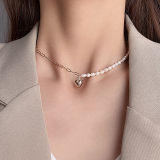 LIVSIA - Heart Pendant Faux Pearl Necklace