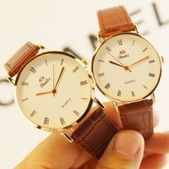 DUOLZ - Faux Leather Strap Watch