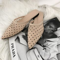 DABAGIRL(ダバガール) - Pointy Dotted Mesh Flat Mules