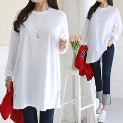 Seoul Fashion(ソウルファッション) - Crew-Neck Plain Long T-Shirt