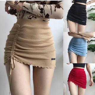 Ohnana - Drawstring Rib-Knit Pencil Mini Skirt