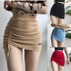 Ohnana - Drawstring Rib-Knit Pencil Mini Skirt