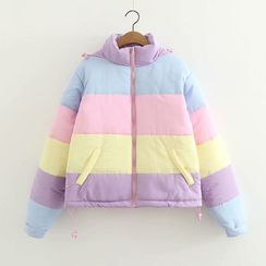 Mori Girls - Color-Block Striped Padded Coat
