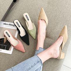 Asterisk - Pointy-Toe Block Heel Mules