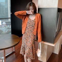 Petit Lace - Set: Open-Knit Cardigan + Floral Dress