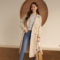 CLICK - Double-Breasted Long Trench Coat With Belt