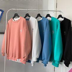 Kimeya - Mock Two-Piece Embroidered Sweatshirt