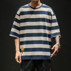 Ferdan - Striped Elbow-Sleeve T-Shirt