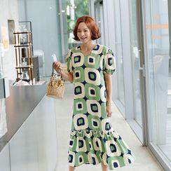 Lemite - Frilled-Hem Geo-Pattern Long Dress