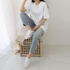 PPGIRL(PPガール) - Slit-Side Plain T-Shirt