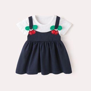 DuduBaby - 嬰兒短袖飾櫻桃連衣裙
