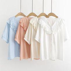 Aigan - 中袖皱摺边衬衫