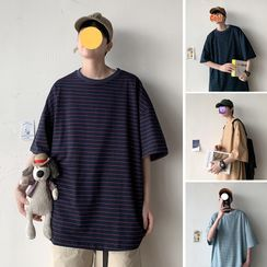 Dukakis - Elbow-Sleeve Striped T-Shirt