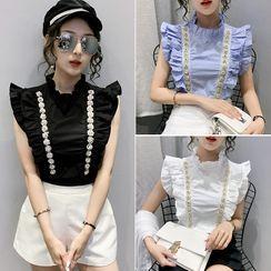 Emeraude - 無袖綴飾皺摺邊小高領襯衫