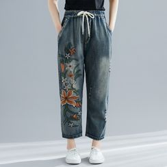 RAIN DEER - Floral Embroidered Ripped Harem Jeans