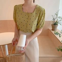 Yunhouse - Dotted Short-Sleeve Blouse