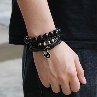 KINNO - Genuine Leather Layered Bracelet