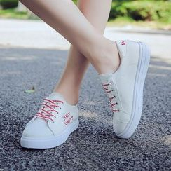 Satomi - Letter Embroidered Lace-Up Sneakers