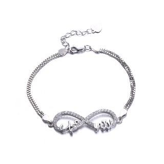 BELEC - 925 Sterling Silver Simple Elegant Fashion Limit Sign Bracelet with Cubic Zircon