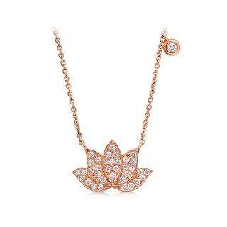 BELEC - 925 Sterling Silver Plated Rose Gold Flower Necklace with White Austrian Element Crystal