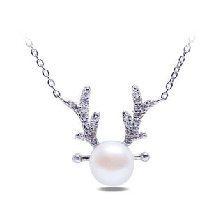 BELEC - 925 Sterling Silver Elk Necklace with White Freshwater Cultured Pearl