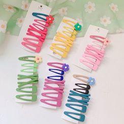 Hello minto - Set: Flower / Plain Hair Clip (assorted designs)