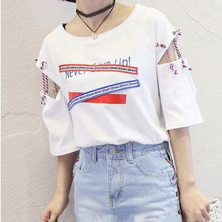 Tiny Times - Cutout-Sleeve Appliqued T-Shirt