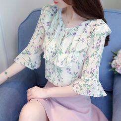 Thous - Flower Print Elbow-Sleeve Blouse