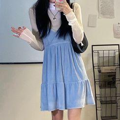 Fossigrove - Set : Velvet Suspender Skirt + High-Neck Long-Sleeve Inside