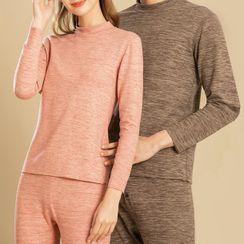 At Sixes & Sevens - Couple Matching Underwear Set: Long-Sleeve T-Shirt + Pants
