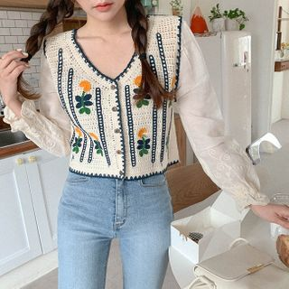 Cherryville - Flower Embroidery Crochet Blouse