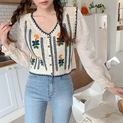 Cherryville - Flower Embroidery Crochet Blouse