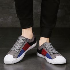 Yeesteps - Color Block Lace-Up Canvas Sneakers