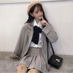 Sisyphi - Bow Shirt / Plaid Blazer / Plaid Pleated Skirt / Set